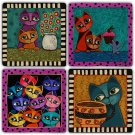 Cats - Stone Coasters - Set of 4 pcs. - 10 x 10 cm - 04