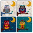 Owls - Stone Coasters - Set of 4 pcs. - 10 x 10 cm - 04