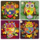Owls - Stone Coasters - Set of 4 pcs. - 10 x 10 cm - 05