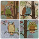Owls - Stone Coasters - Set of 4 pcs. - 10 x 10 cm - 10