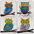 Owls - Stone Coasters - Set of 4 pcs. - 10 x 10 cm - 13