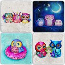 Owls - Stone Coasters - Set of 4 pcs. - 10 x 10 cm - 14