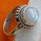 Pure 925 Sterling Silver Handmade Ring with Rainbow Moonstone Size 6-12 (US)