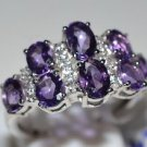 Pure 925 Sterling Silver Solid Ring with Amethyst & White Topaz Size 7 (US)