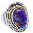 Pure 925 Sterling Silver Solid Ring with Purple Copper Turquoise Size 6 - 12(US)
