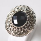 Pure 925 Sterling Solid Silver Ring Studded with Black Onyx Size 6 to 12 (US)