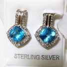 Pure 925 Sterling Silver Solid Earrings studded with Blue Topaz, White Topaz