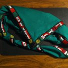 Blank Green Neckerchief Foulard with Arab Scouting flags stripe all around
