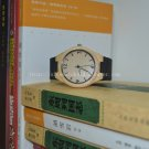 Mens Simple Wooden Watches,bamboo Wrist Watch  Genuine Leather Strap Watch Gift For Him