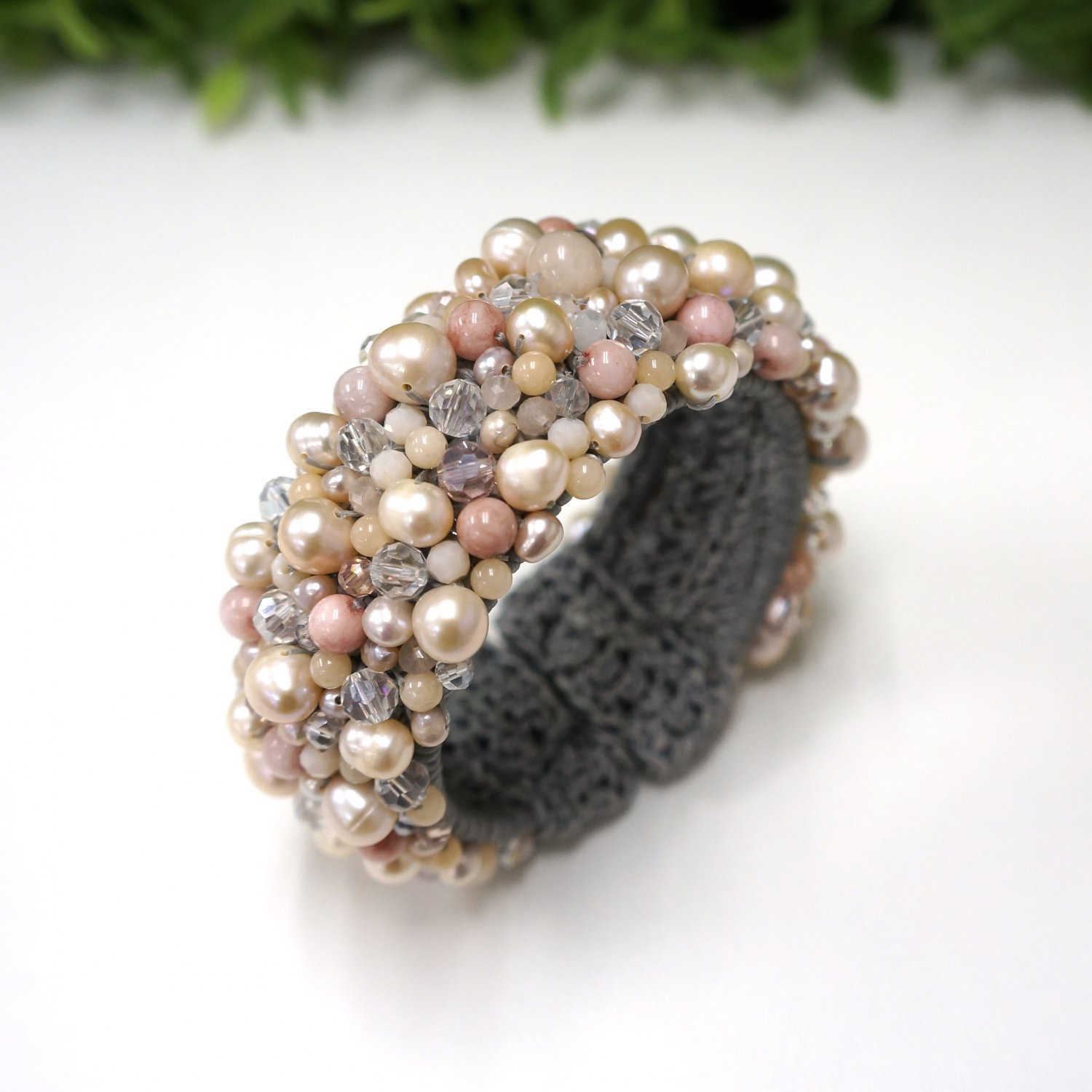 Peach freshwater pearl bangle with crystal bead on wax cotton thread