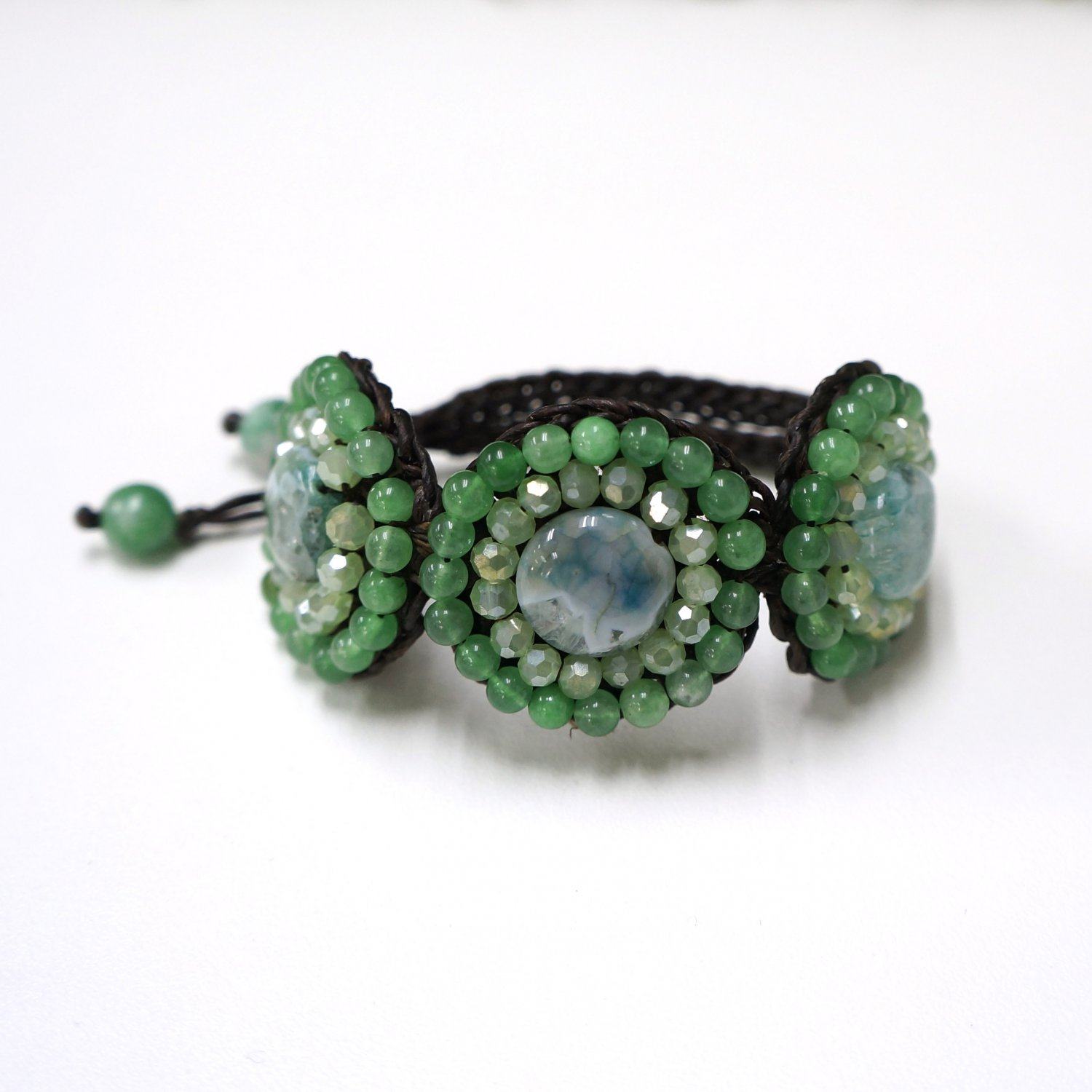 Waxed cotton bracelet with bead and crystal (Green)