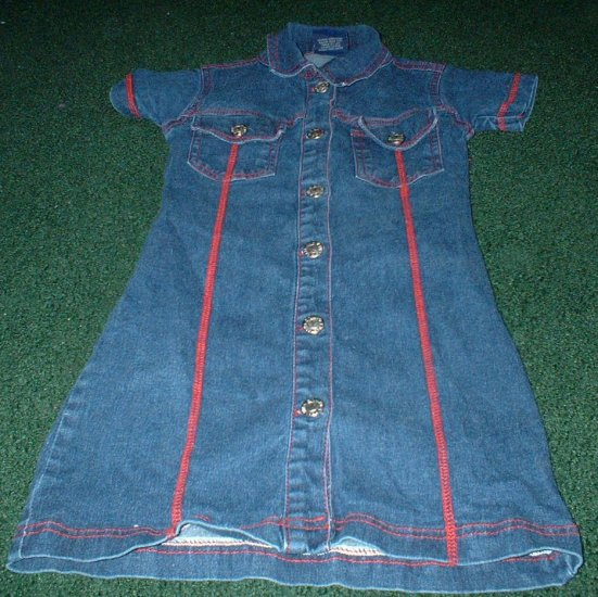 Girls Denim Button Down Dress Size 5 6