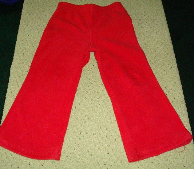 Girls Red Flared Fleece Pants 4T