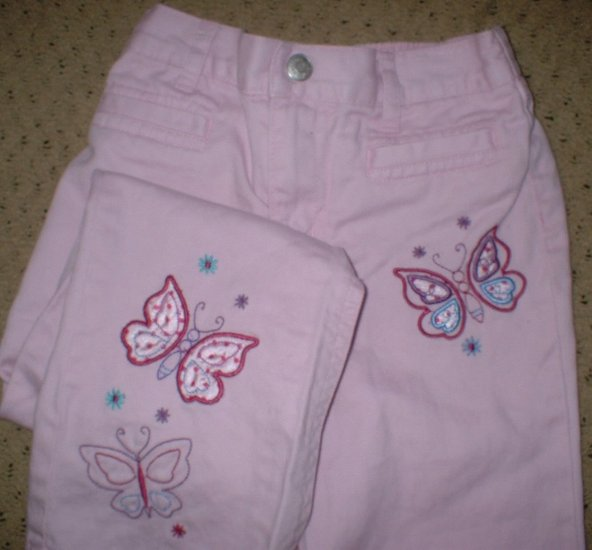 Girls Pink Butterfly Embroidered Jeans 5T