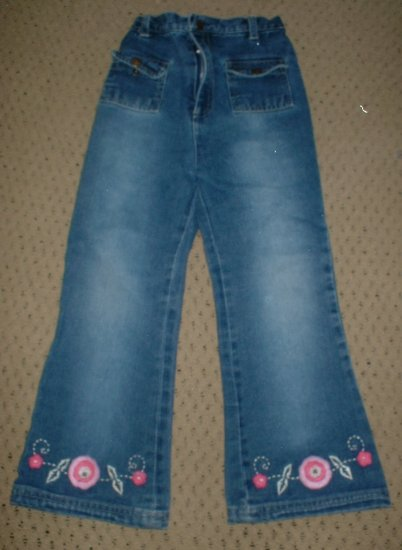 Girls Pre-fade Jeans with Embellished Flowers Size 5