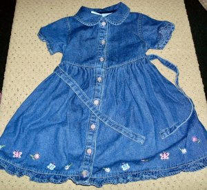 Girls Denim Dress with Embroidery 4T Toddler