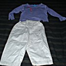 3T Purple Embellished Long Sleeve Top and Khakis set