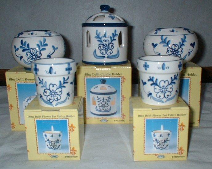Blue Delft Candle Holder 5 pc Lot      CL1
