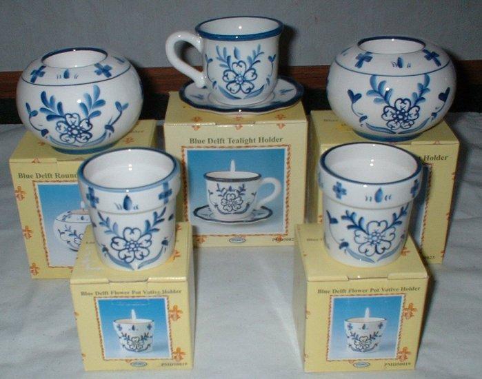 Blue Delft China Candle Holder Teacup Lot Set  CL3