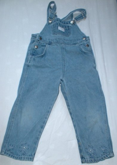 Girls Size 5T Denim Overalls with Embroidery