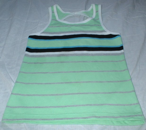 Girls Sea Green Striped Racer-back Tank Size Small 4 5