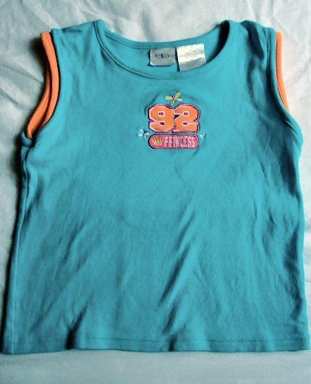 Girls Blue & Orange Embroidered Tank Shirt Size 5T