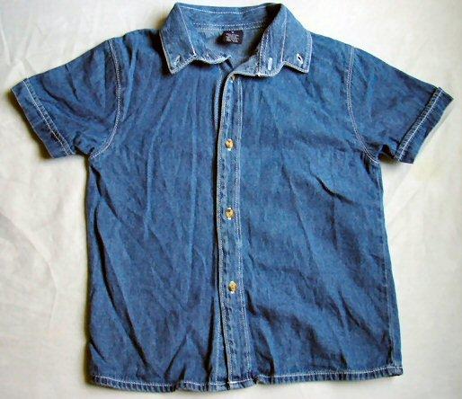 Collared Denim Short Sleeve Shirt Size 5