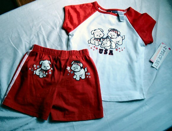Girls Americana Puppy Outfit Size 5 6