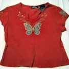 Girls Red Butterfly Top Size 6