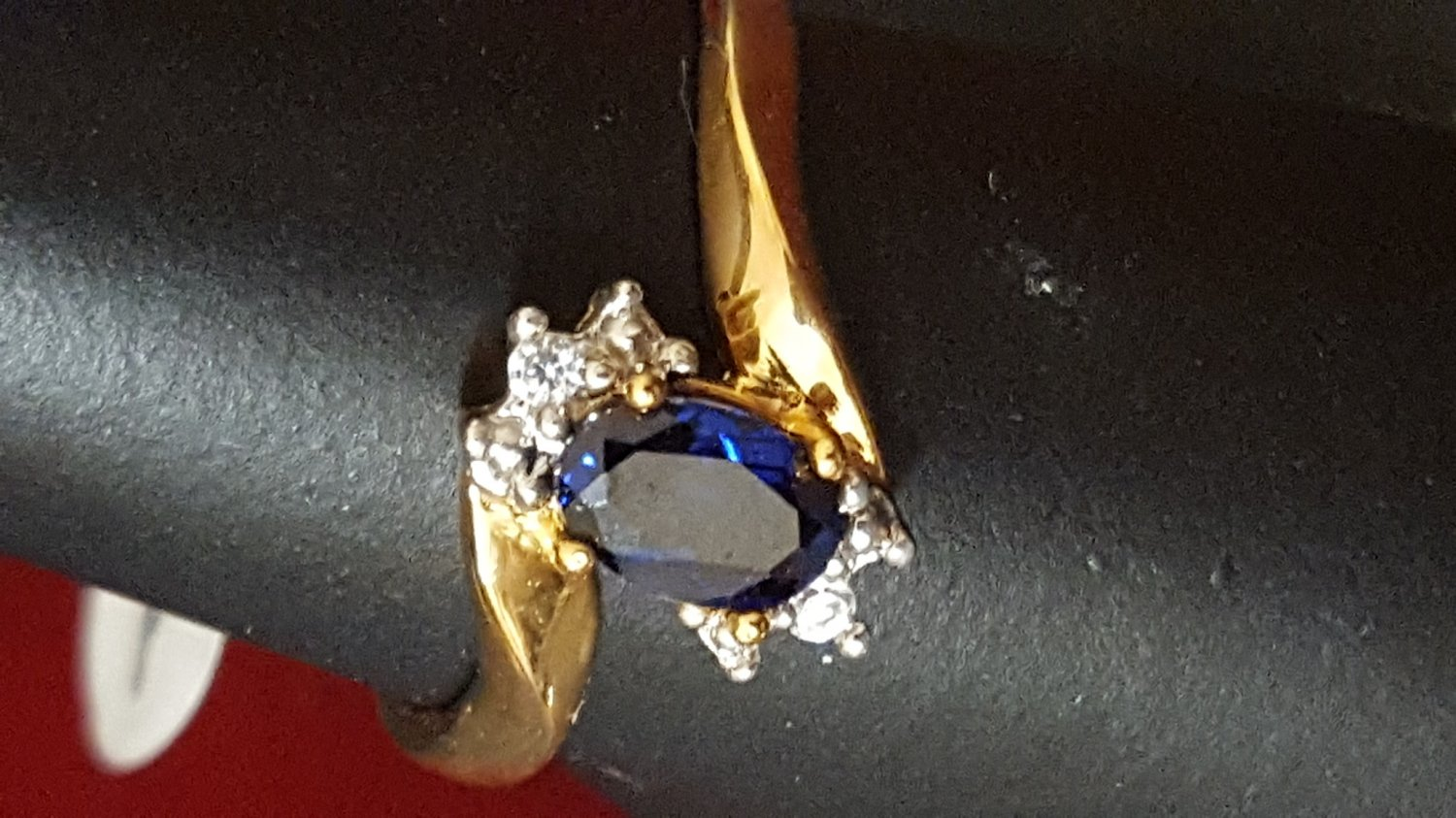 Blue Sapphire Ring 14k Gold Plated Band