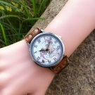 Genuine leather watch lady map money personality manual