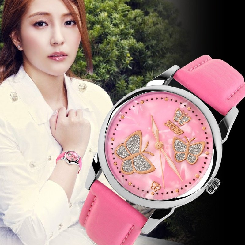 Mechanical Watch Leather Strap Ladies Watches Female Students Casual Watches Pink