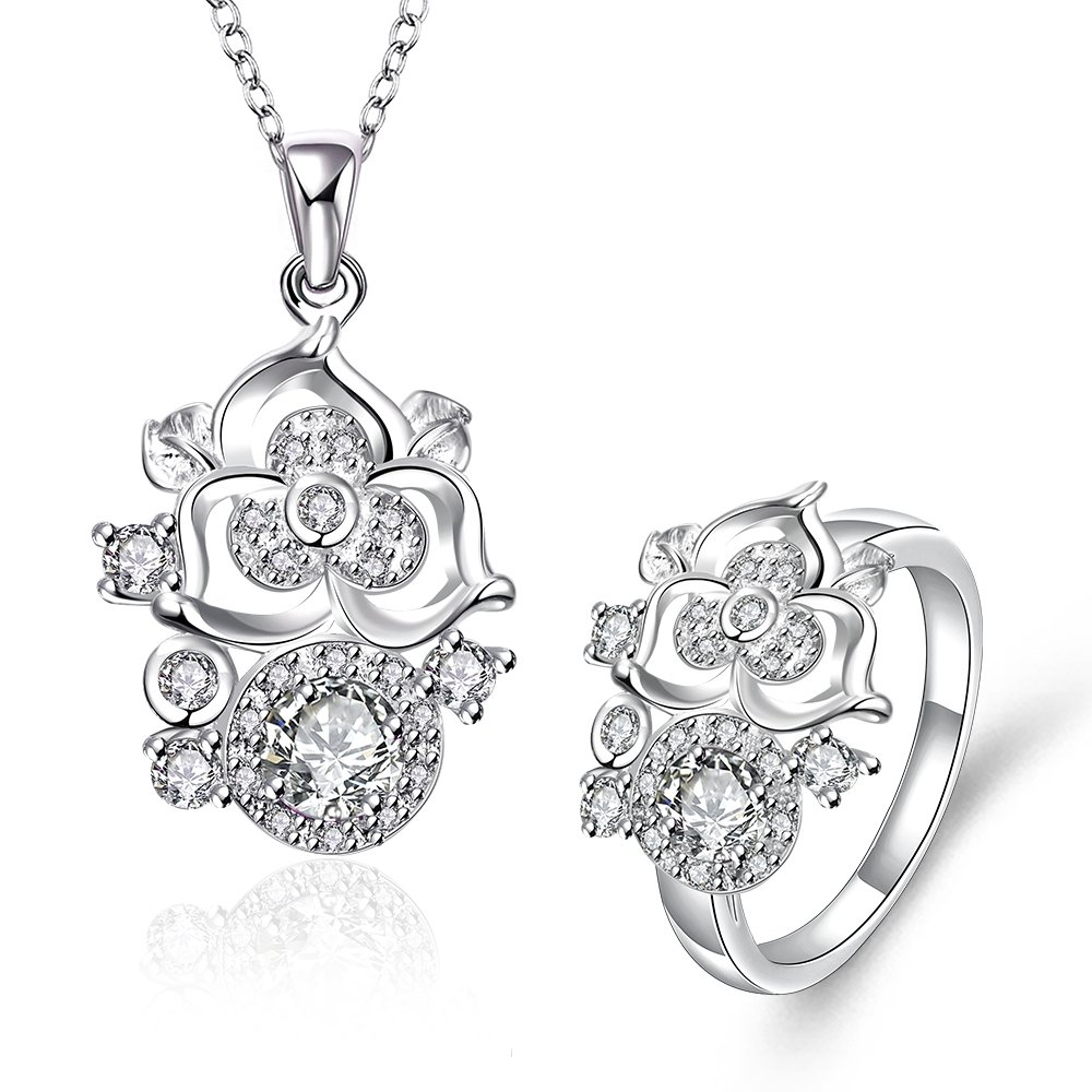 S095-D Fashion popular silver plated jewelry sets for sale