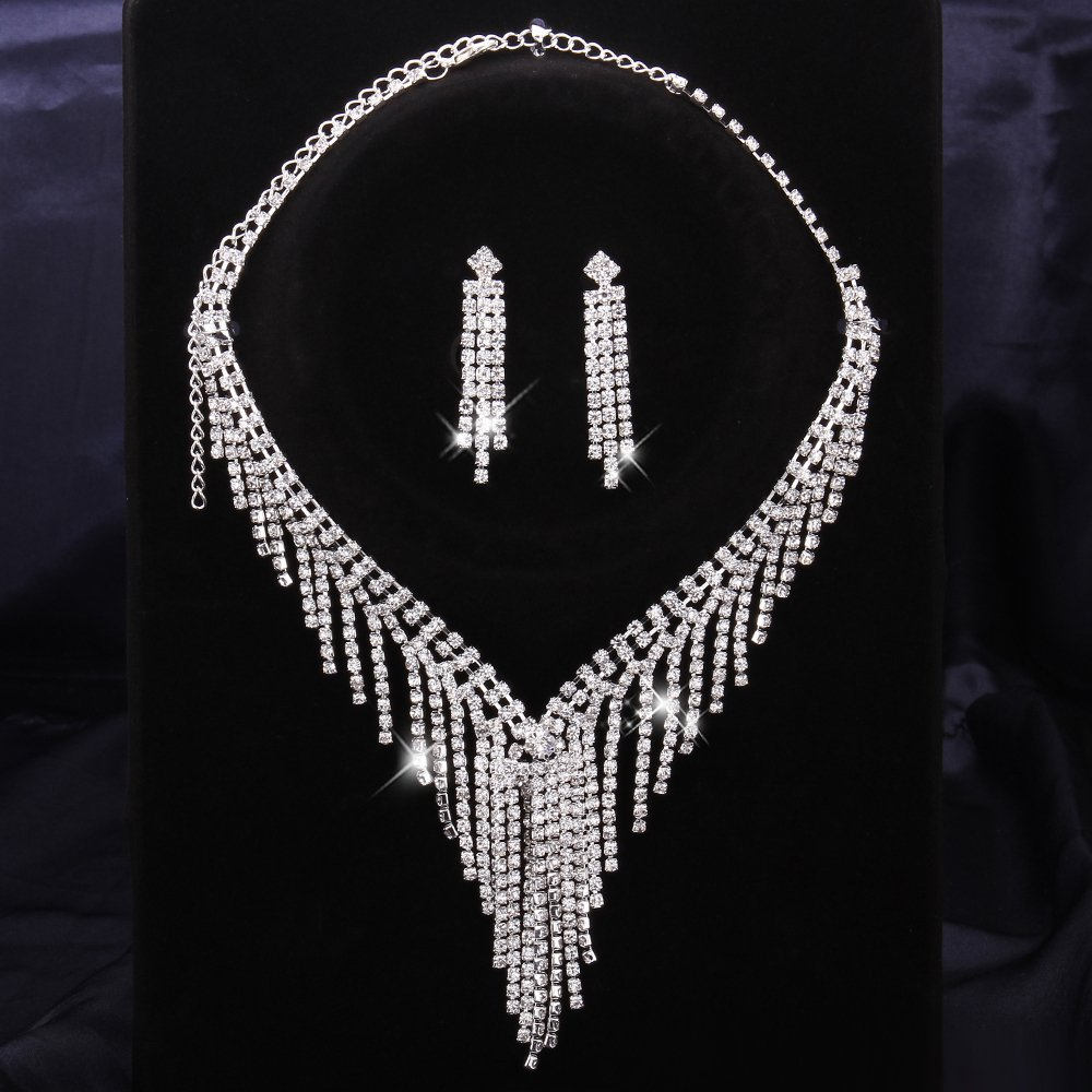 rhinestone crystal fashion crystal neckalce set wedding jewelry sets