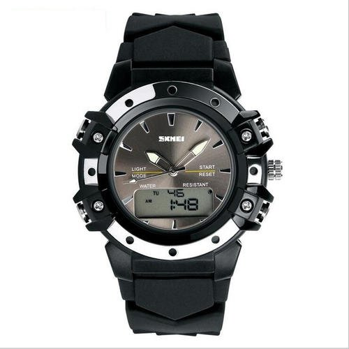 Luxury Brand Sports Quartz Watch Dual Time Digital Analog Men  Black