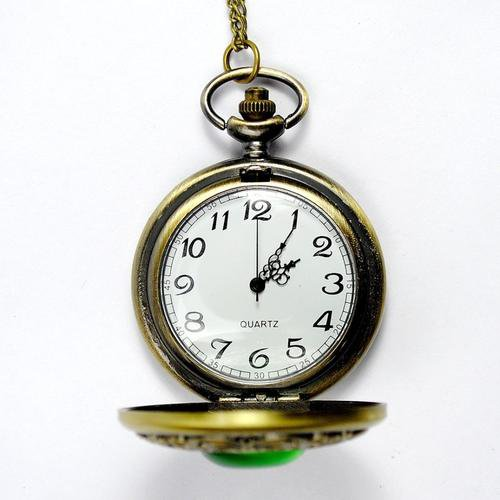 Green Gemstone Carved Hollow Pocket Watch Old Style