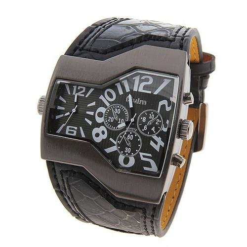 Multi-Function Dual Movt Leather Wrist Watch