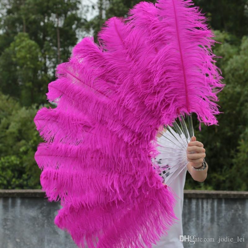 "single layer Hotpink Ostrich Feather Fan Burlesque friend 25""x45"""