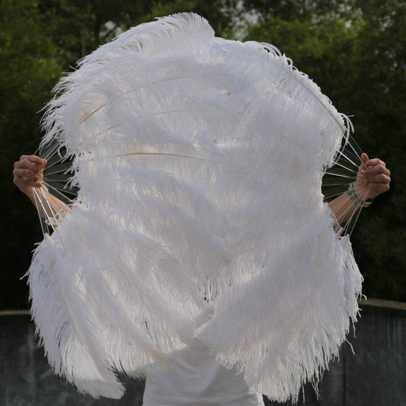 "A pair White Single-layer Ostrich Feather fan 24""x41"" burlesque dancer"