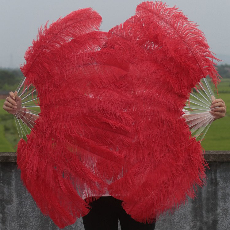"A pair Red Single-layer large Ostrich Feather fan 24""x41"" burlesque dancer"
