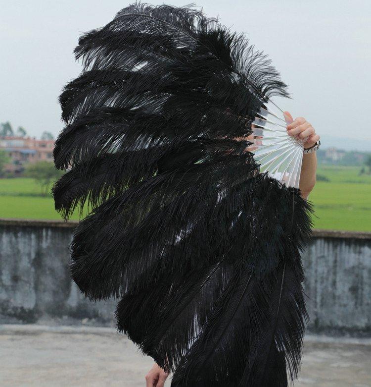"""Black Double Layers Large  Ostrich Feather Fan Burlesque dancer friends 30""""x 54"""""""