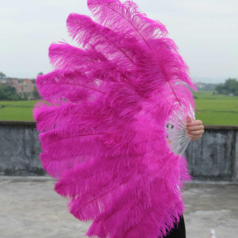 """Hotpink Double Layers Large Ostrich Feather Fan Burlesque dancer friends 30""""x 54"""""""