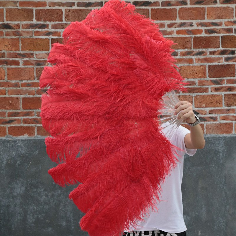 """Red Double Layers Large Ostrich Feather Fan Burlesque dancer friends 30""""x 54"""""""
