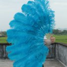 "Blue Double Layers Large  Ostrich Feather Fan Burlesque dancer friends 30""x 54"""