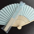 Free Shipping 20Pcs/Lot Plain Baby Blue Paper Hand Fans for Wedding 21cm with Organza Gift Bag