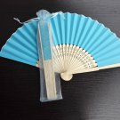 Free Shipping 20Pcs/Lot Plain Blue Paper Hand Fans for Wedding 21cm with Organza Gift Bag