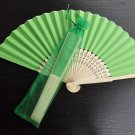 Free Shipping 20Pcs/Lot Plain Green Paper Hand Fans for Wedding 21cm with Organza Gift Bag