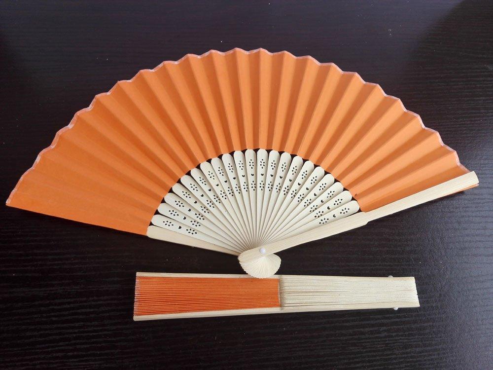 20Pcs/Lot 21cm Orange  Wedding Paper Fans Paper Fans for Party Decorations Personalized Paper Fans