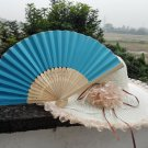 20Pcs/Lot 21cm Blue Wedding Paper Fans Paper Fans for Party Decorations Personalized Paper Fans