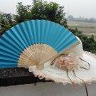 20Pcs/Lot 21cm Blue Wedding Paper Fans Paper Fans for Party Decorations Personalized Paper Fans
